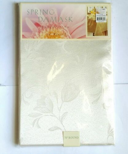 NEW NOBLE EXCELLENCE SPRING OVAL OR ROUND LUXURY DAMASK TABLECLOTHS SEALED