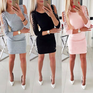 Womens-Bandage-Cold-Shoulder-Bodycon-Evening-Party-Club-Cocktail-Sexy-Mini-Dress