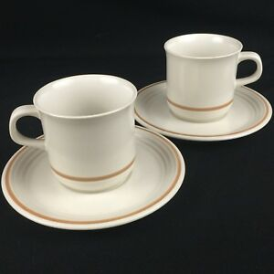 Set-of-2-VTG-Cups-and-Saucers-by-The-Cellar-R-H-Macy-Stoneware-Japan-FW-1240