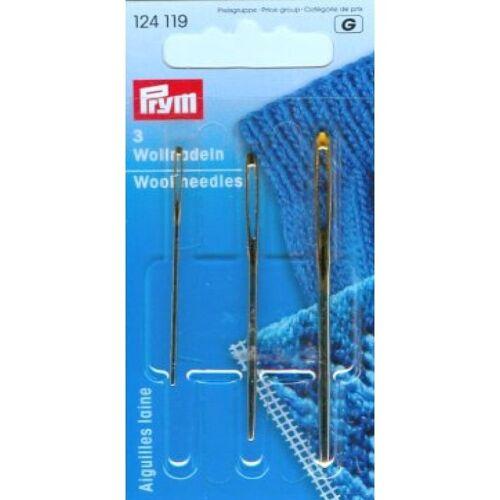 PRYM 3 lana aghi 124 119 grandi Eyed per Cucito Lana, Gratis P/&P