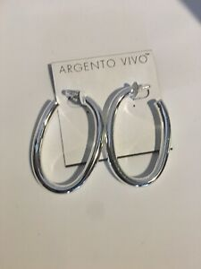 ARGENTO-VIVO-Sterling-Silver-Drop-Hoop-Earrings-NEW