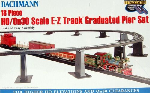 Bachmann HO Scale Train E-Z Track System 18-PCS Graduated Pier Bridge Set 44595