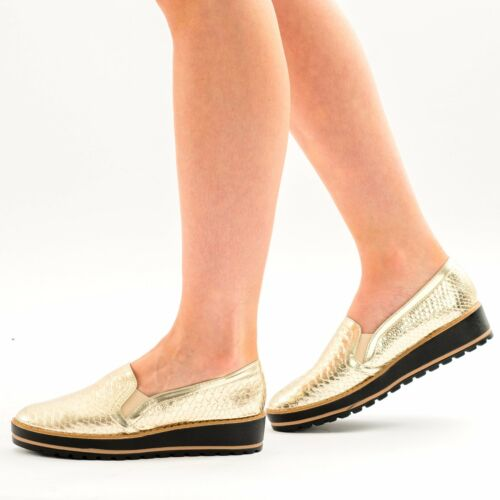 Ladies Womens Low Wedge Heel Slip On Croc Print Summer Fashion Loafers Pumps