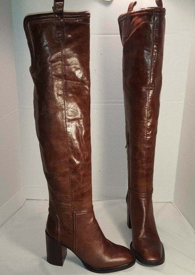 JEFFREY CAMPBELL GORHAM OVER THE KNEE braun LEATHER RIDING Stiefel US 6.5
