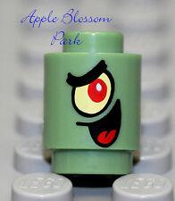 NEW Lego Sponge-Bob PLANKTON MINIFIG HEAD - Sand Green 1x1 Round Brick 3525 4981