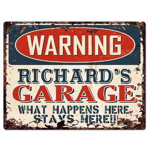 PPFG0007-WARNING-RICHARD-039-S-GARAGE-Tin-Chic-Sign-Home-man-cave-Decor-Funny-Gift