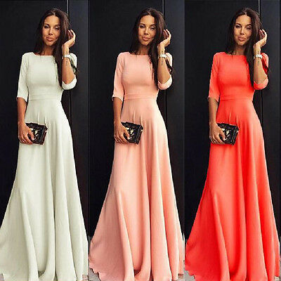 Women 3/4 Sleeve Party Cocktail Long Maxi Dress Convertible Infinity Swing Dress