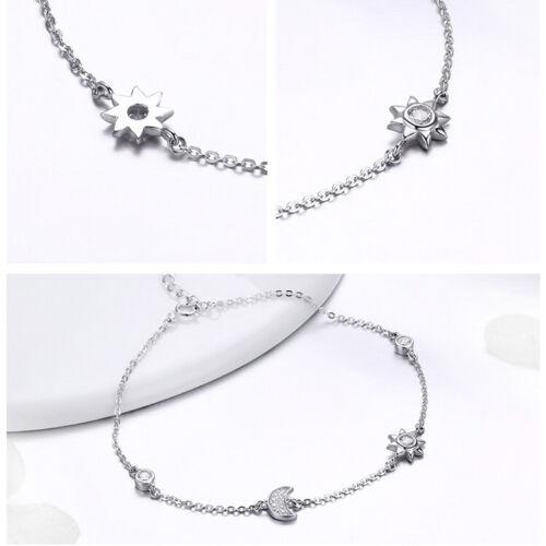 Bamoer S925 Sterling Silver Bracelet Sun and Moon charme avec Zircone cubique Femme Bijoux