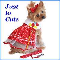 Designer Red White Polka Dot Yellow Blue Balloon Dog Dress W/matching Leash M