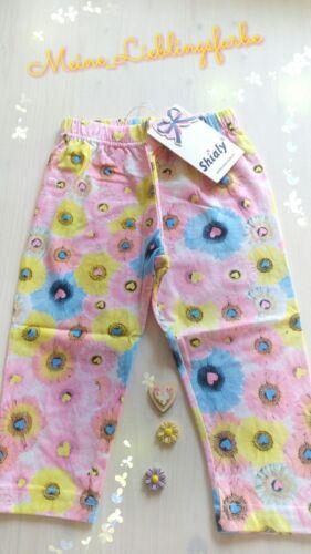 Leggings Pantaloni Legging Fiori Cuori Estate Rosa Mis 98-152 NUOVO
