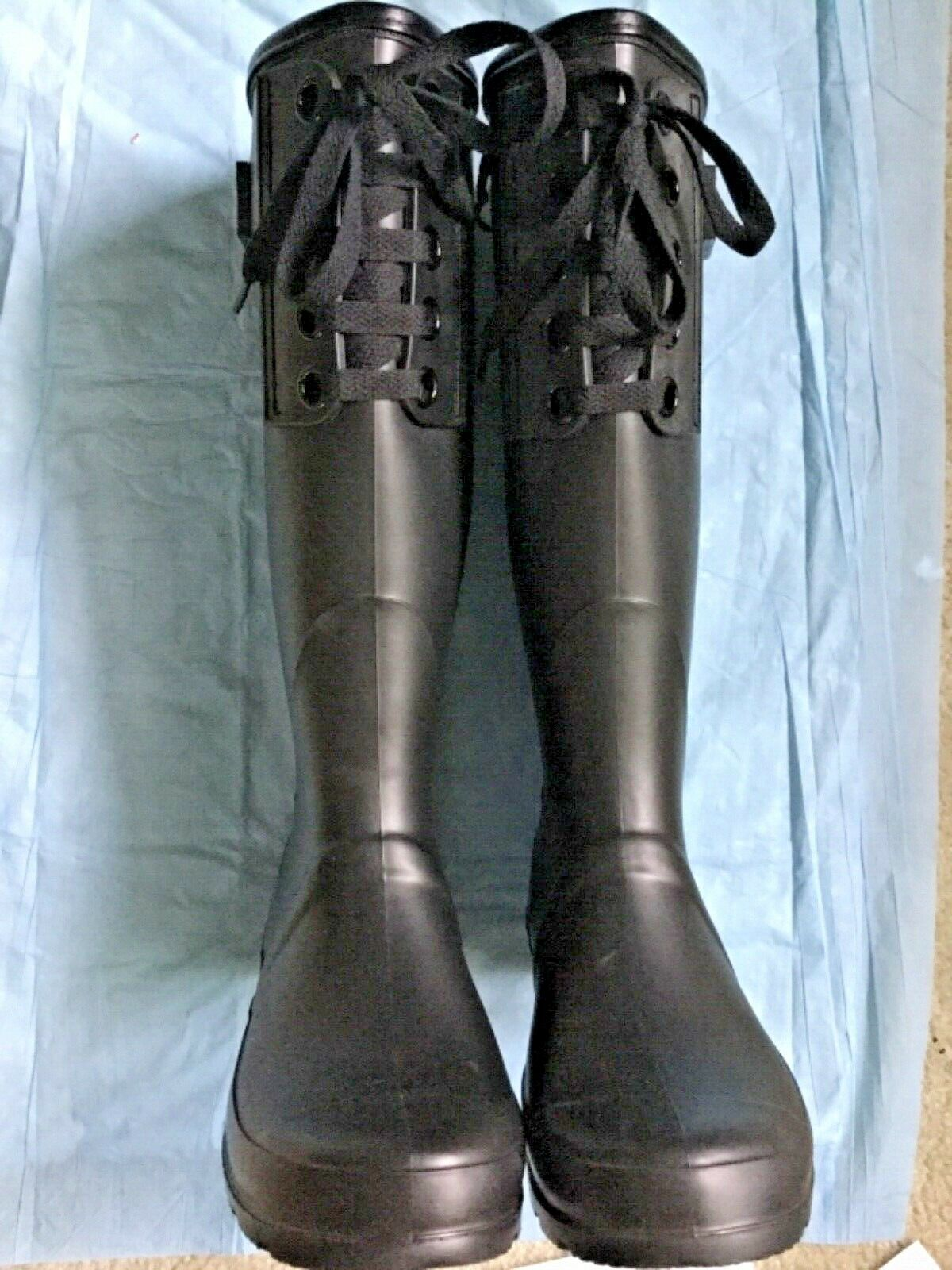 LADIES NICOLE MILLER TALL MATTE BLACK LACE FRONT DETAIL RAIN BOOTS SZ 10 NEW