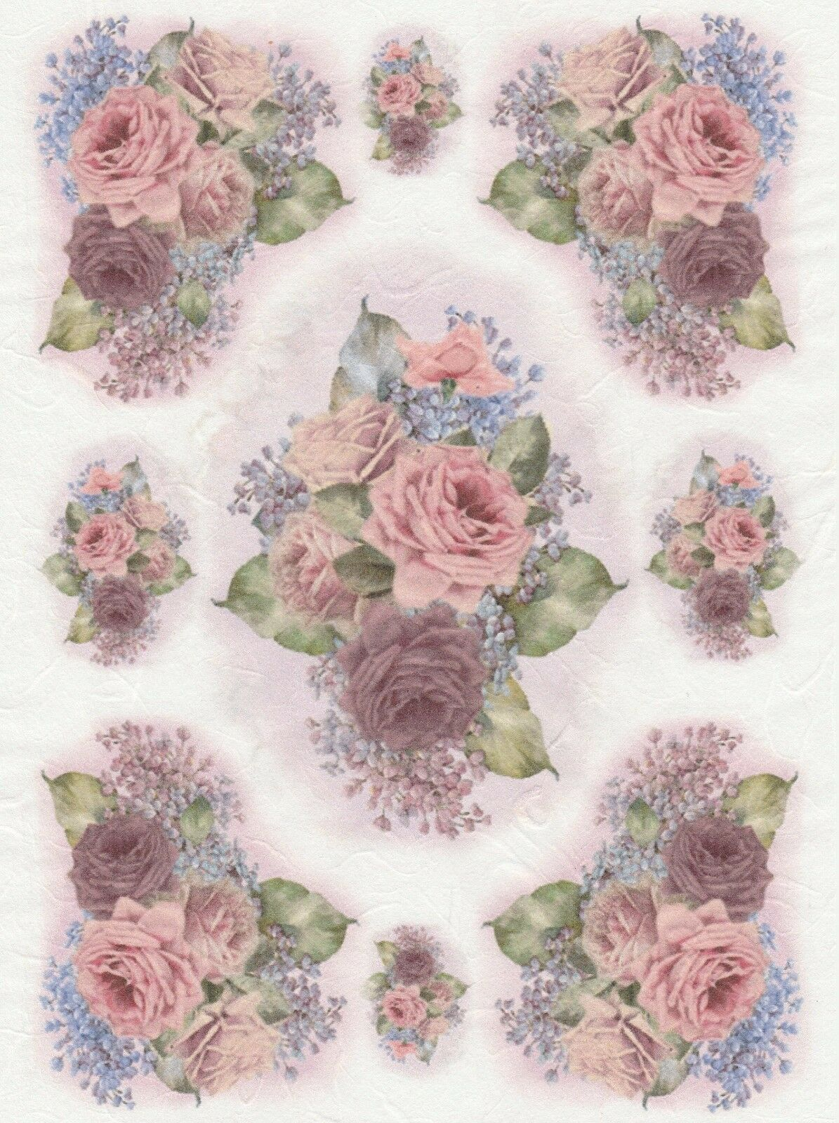 Rice Paper for Decoupage Scrapbook Craft Sheet Vintage Roses