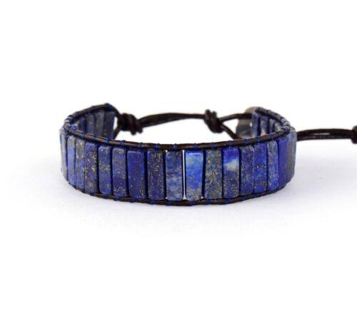 Crystal Bead Friendship Bracelet Square Tube Lapis Lazuli Chakra Leather Blue
