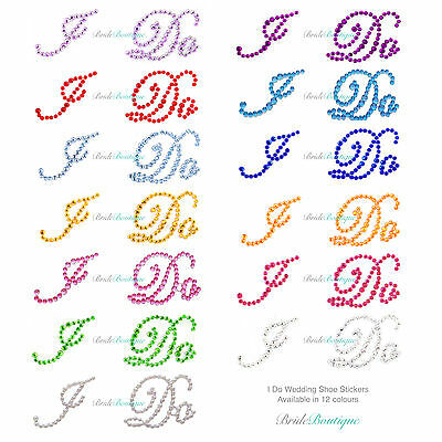 I Do Wedding Shoe Stickers Crystal Diamante Rhinestone - 12 Colours Available
