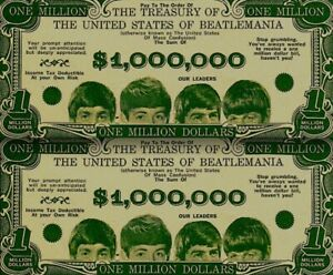 Beatles-1964-Vintage-Money-Million-Dollar-Bill-Paul-John-George-Ringo-NM-COA