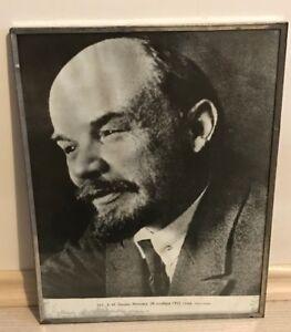 Portrait-of-Communist-Leader-Vladimir-Lenin-Original-Framed-Piece-of-Soviet-Art