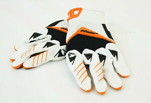 NEW-THOR-S12-DEFLECTOR-WHITE-ORANGE-GLOVES-MOTOCROSS-MOTORYCLE-MX-ATV-XS-X-SMALL