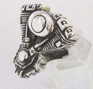 silver-V-Twin-Engine-Biker-Ring-Custom-size-Chopper-Pan-head-Motorcycle-mc-R-2s