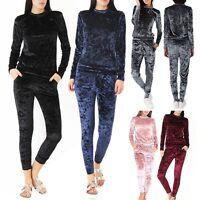 Ladies Velvet Velour Lounge Suit Sweatshirt Womens Lounge Wear Tracksuit Joggers
