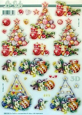 Seasonal Baubles for cards and crafts A4 Foiled Decoupage