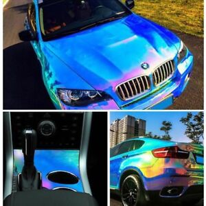 Holographic White Backing Rainbow Neo Chrome Car Vinyl Wrap Bubble Free Sticker