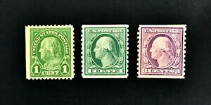 US-Franklin-Washington-1-Cent-and-3-Cent-Coil-Stamps-MH
