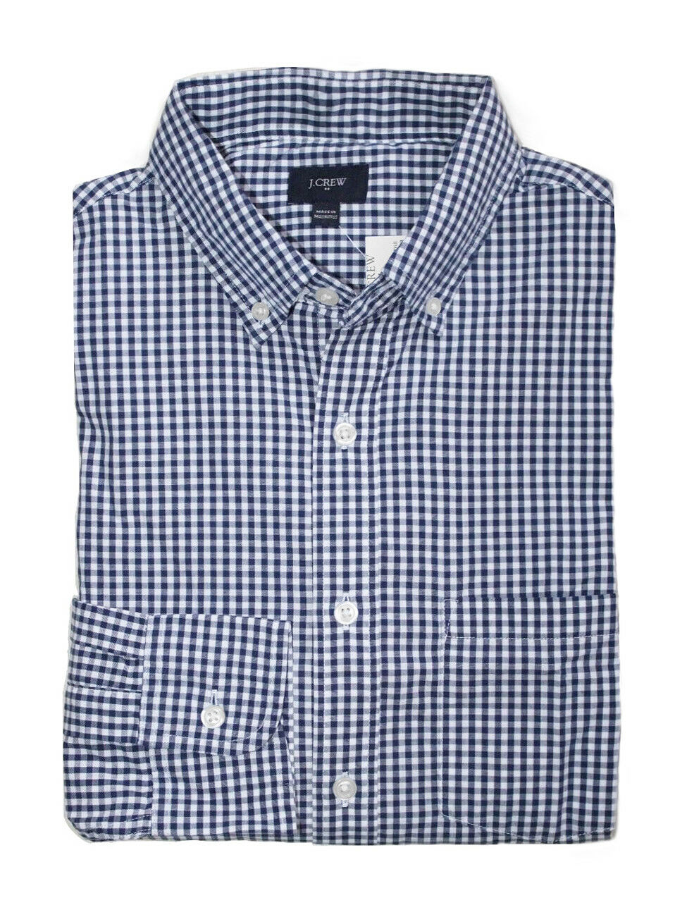 J.Crew Factory Mens M Regular Fit - Navy White Micro-Gingham Washed Cotton Shirt