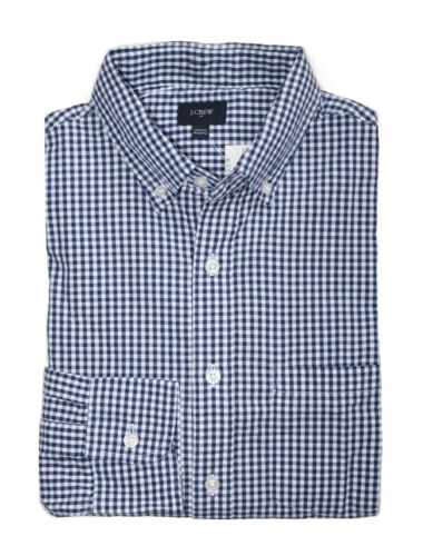 J.Crew Factory Mens XS Regular Fit NavyWhite MicroGingham Washed Cotton Shirt
