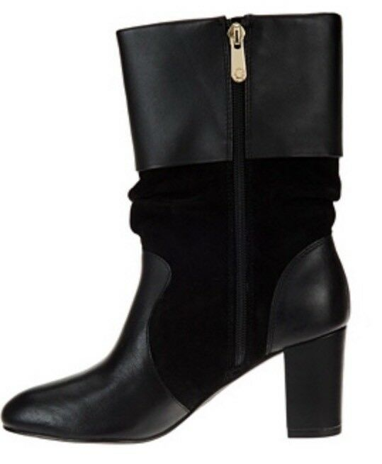 C. C. C. Wonder Leather and Suede Mid-Calf Slouch stivali - Amanda STORM grigio Sz. 7M NIB 4b0741