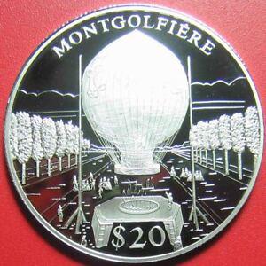 2000-LIBERIA-20-SILVER-PROOF-034-MONTGOLFIERE-034-HOT-AIR-BALLOON-w-COA-4791-SUPERB