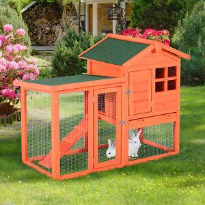 PawHut Waterproof Wooden Chicken Coop Rabbit House w/ Ladder Run