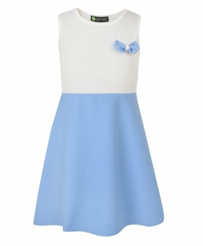 Girls Dress Casual Skater Bow Chest Textured Sleeveless Summer Party Top 3-14 Y