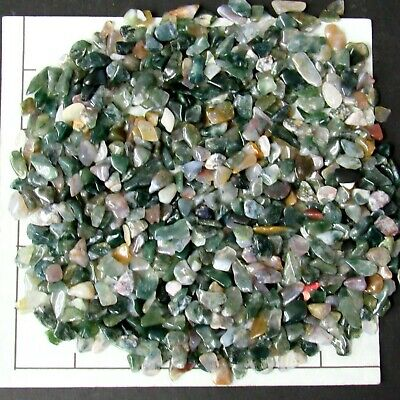 AGATE MOSS TREE MORE 5-15mm tumbled 1//2 lb bulk stones rounded green white