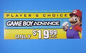 Nintendo-Gameboy-Advance-GBA-Store-Display-Promo-Shelf-talker-Sign-Mario-Bros