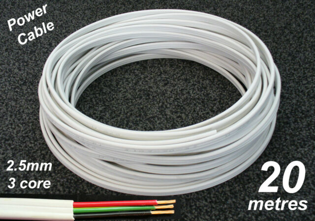 20M Roll x 2.5mm Electrical Cable Flat 3 core (2C+E) TPS Wire for Power Circuits