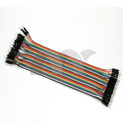 40pcs Dupont Wire Cable Line 20cm  2.54mm Male to Male Color 1P-1P Pin Connector