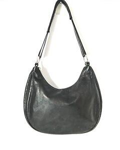 3900faca386a Details about MAURIZIO TAIUTI Black Leather Hobo Croc Print Trim Italy  Shoulder bag Satchel
