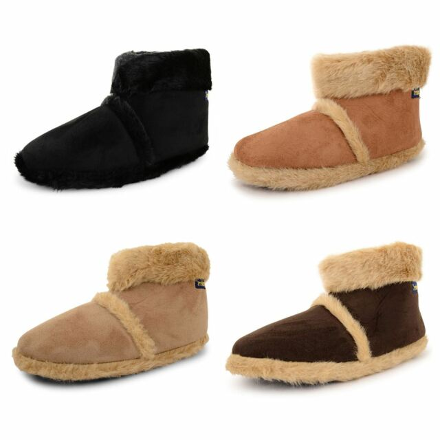 New Mens Coolers Microsuede Furry Slippers Comfy Snugg Ankle Boots Size UK 7-12