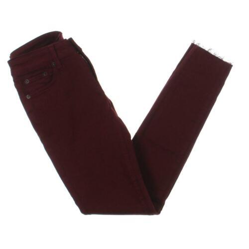 Jean Shop Womens Heidi Red Stretch Frayed Super Skinny Jeans 27 BHFO 8330
