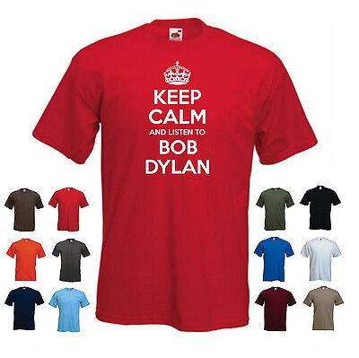 /'Keep Calm and Listen to Bob Dylan/' Rock Pop Punk Music T-shirt Tee Gift S-XXL