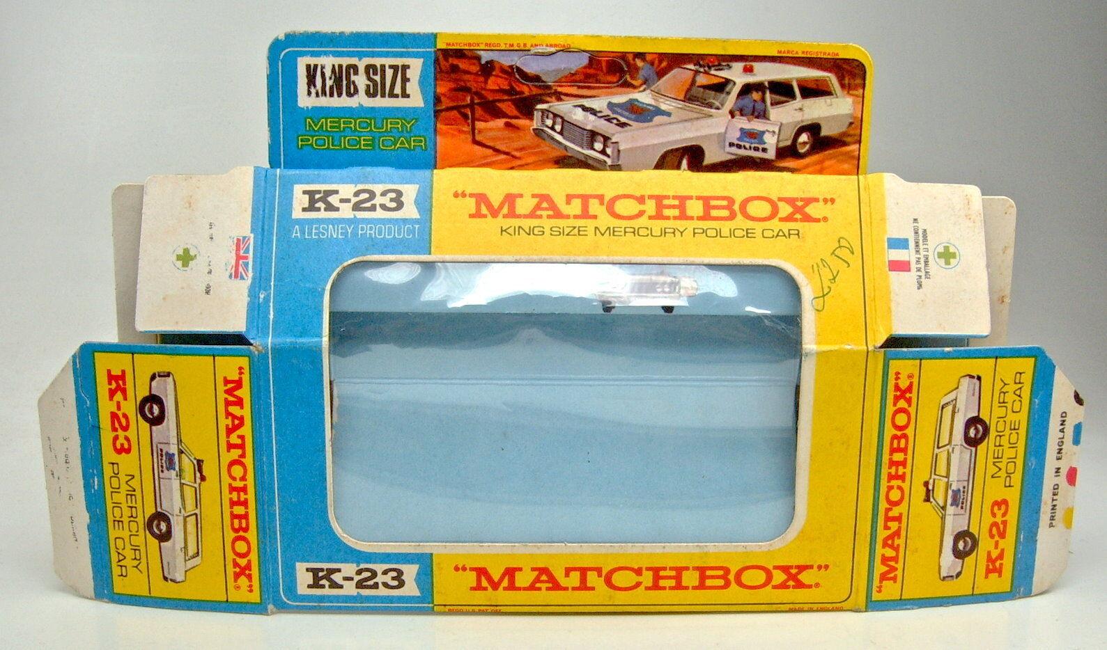 Matchbox KingTaille k-23a Mercury Police car vide Box