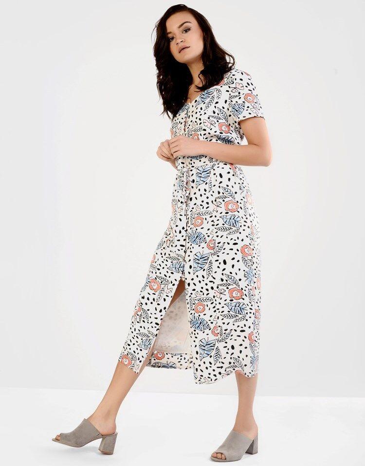 Nouveau Glamour Curve Cravate Taille Bouton Front Floral Midi Dress Summer Look Uk 18