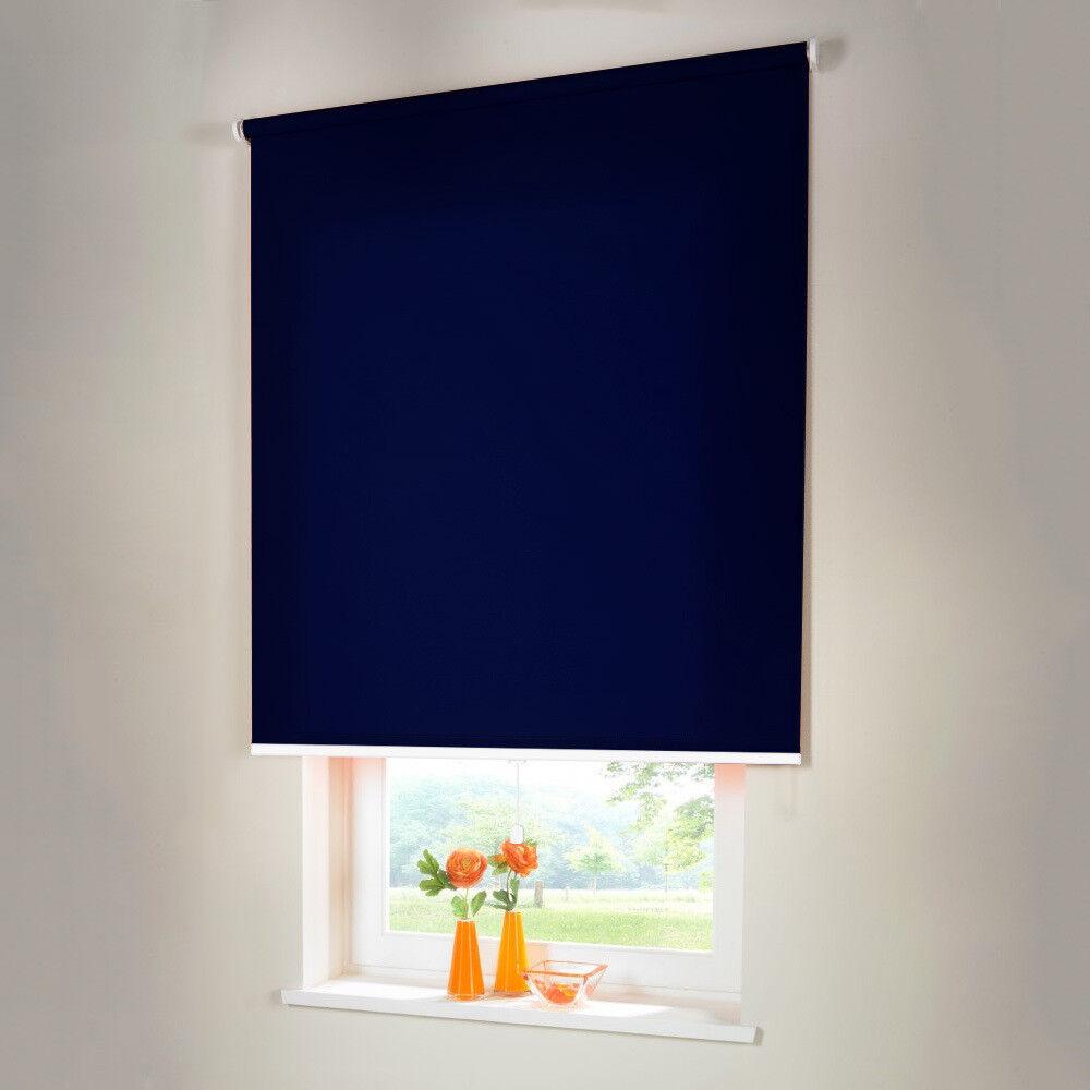 Sichtschutzrollo Mittelzugrollo Springrollo Rollo - Höhe 210 cm dunkelblau | Vogue