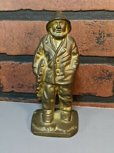 Antique-Vtg-Solid-Brass-Sailor-Fisherman-Statue-doorstop-bookend-salty