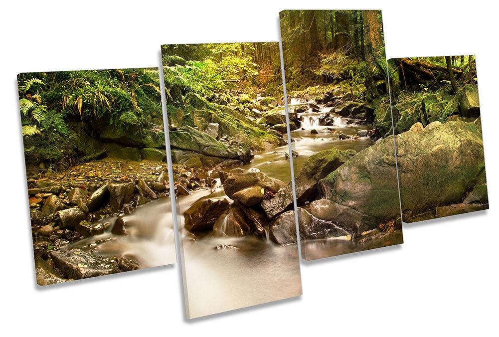 Rain Forest Grün River Bild MULTI CANVAS Wand Kunst Drucken