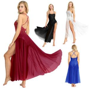 Womens-Adult-Ballet-Dance-Dress-Sequined-Leotard-Bodysuit-Mesh-Tulle-Maxi-Skirt
