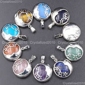 Natural-Gemstones-Moon-and-Stars-Reiki-Chakra-Healing-Beads-Pendant-Necklaces