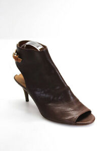 Coach-Womens-Leather-Open-Toe-Booties-Dark-Brown-Size-8-5