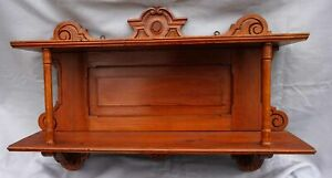 Victorian-Carved-Wood-Pitch-Pine-Wall-Hanging-Shelf-2-Tier-1880