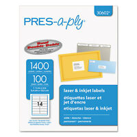 Pres-a-ply Laser Address Labels 1 1/3 X 4 White 1400/box 30602 on Sale